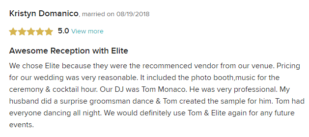 EliteEntertainment_WeddingWireReview_NJWedding_TommyMonaco 2018 8-19-18