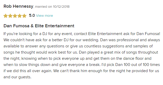 EliteEntertainment_WeddingWireReview_NJWedding_DanFumosa 2018 10-12-18