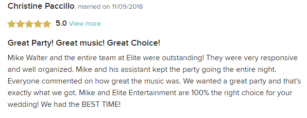 EliteEntertainment_WeddingWireReview_NJWedding_MikeWalter 2018 11-09-18