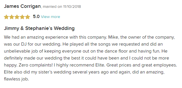 EliteEntertainment_WeddingWireReview_NJWedding_MikeWalter 2018 2nd 11-10-18