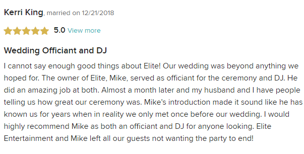 EliteEntertainment_WeddingWireReview_NJWedding_MikeWalter 201812-21-2018