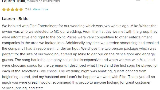 EliteEntertainment_WeddingWireReview_NJWedding_MikeWalter 2019 02-09-2019