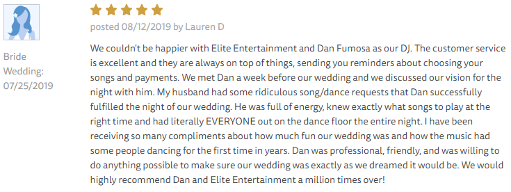 EliteEntertainment_TheKnotReview_NJWedding_DanFumosa 2019 07-25-2019