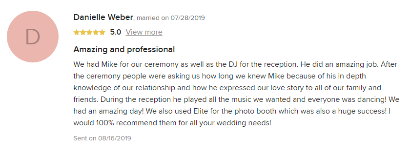 EliteEntertainment_WeddingWireReview_NJWedding_MikeWalter 2019 07-28-2019
