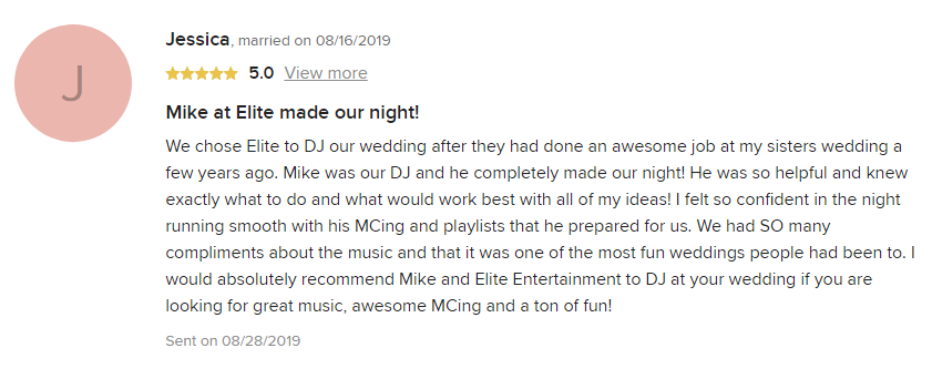EliteEntertainment_WeddingWireReview_NJWedding_MikeWalter 2019 08-16-2019