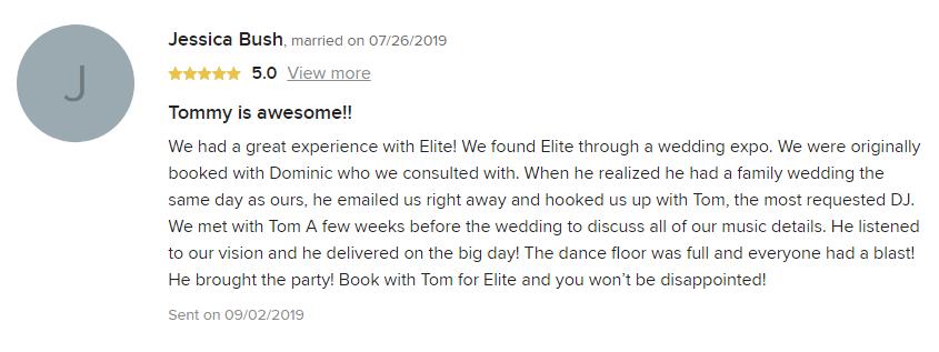 EliteEntertainment_WeddingWireReview_NJWedding_TomMonaco 2019 07-26-2019