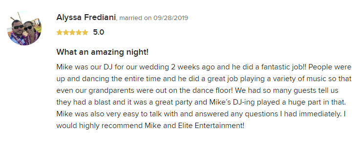 EliteEntertainment_WeddingWireReview_NJWedding_MikeWalter 2019 09-28-2019