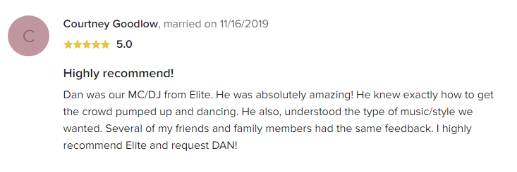 EliteEntertainment_WeddingWireReview_NJWedding_DanFumosa 2019 11-16-2019