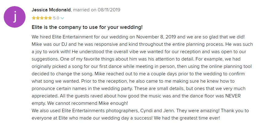 EliteEntertainment_WeddingWireReview_NJWedding_MikeWalter 2019 08-11-2019