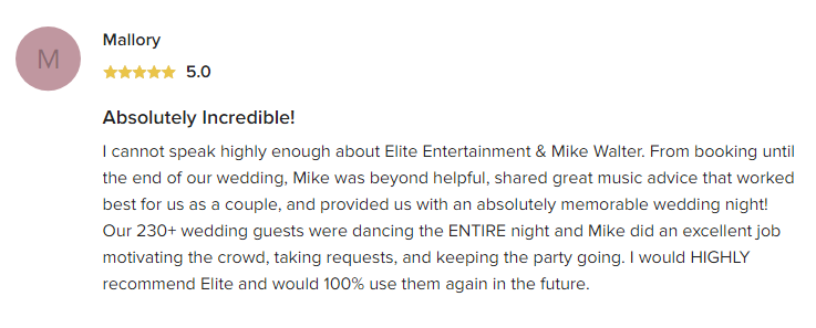 EliteEntertainment_WeddingWireReview_NJWedding_MikeWalter 2019 11-22-2019reviewed