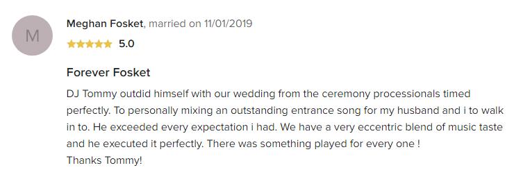 EliteEntertainment_WeddingWireReview_NJWedding_TomMonaco 2019 11-1-2019 review