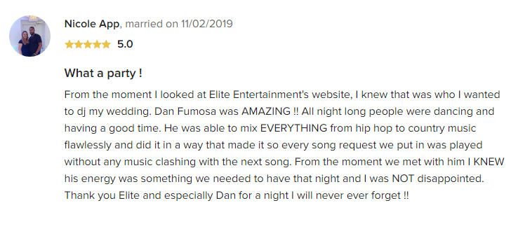 EliteEntertainment_WeddingWireReview_NJWedding_DanFumosa 2019 11-2-2019