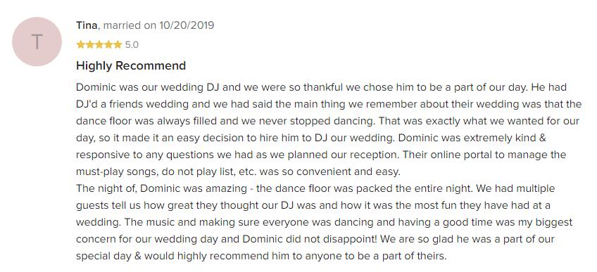 EliteEntertainment_WeddingWireReview_NJWedding_DominicSestito 2019 10-20-2019