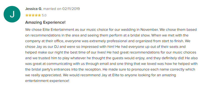 EliteEntertainment_WeddingWireReview_NJWedding_JayThomson 2019 11-2-2019