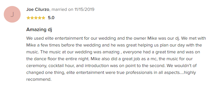 EliteEntertainment_WeddingWireReview_NJWedding_MikeWalter 2019 11-15-2019