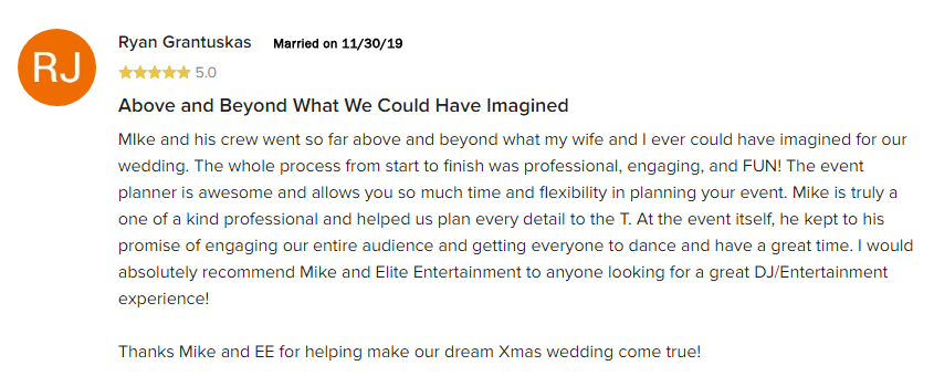 EliteEntertainment_WeddingWireReview_NJWedding_MikeWalter 2019 11-30-2019