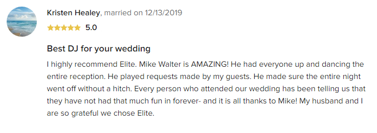 EliteEntertainment_WeddingWireReview_NJWedding_MikeWalter 2019 12-13-2019