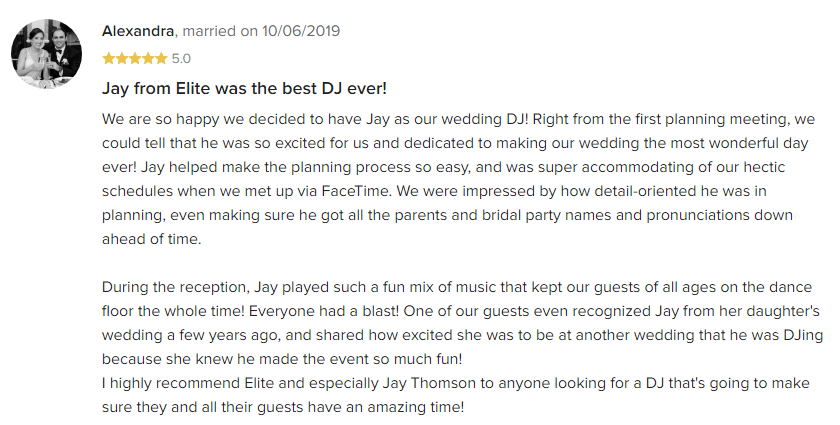EliteEntertainment_WeddingWireReview_NJWedding_JayThomson 2019 10-6-2019