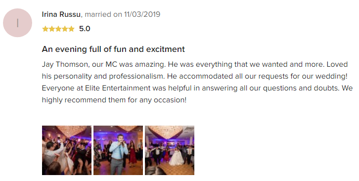 EliteEntertainment_WeddingWireReview_NJWedding_JayThomson 2019 11-3-2019