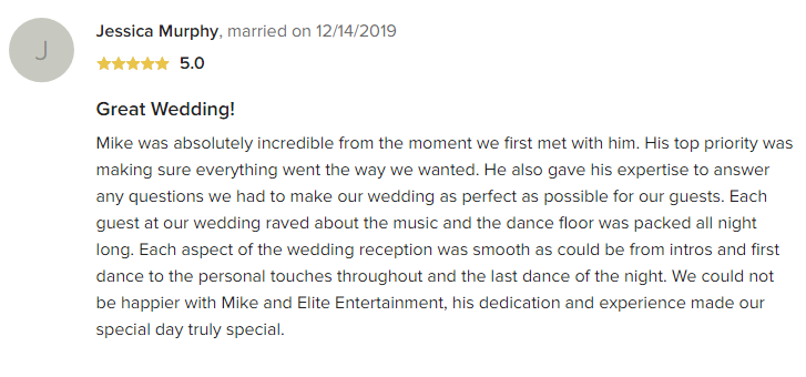 EliteEntertainment_WeddingWireReview_NJWedding_MikeWalter 2019 12-14-2019