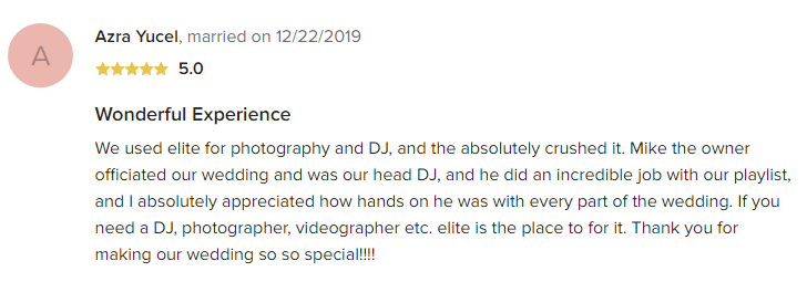 EliteEntertainment_WeddingWireReview_NJWedding_MikeWalter 2019 12-22-2019