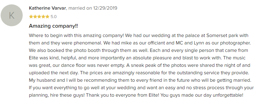 EliteEntertainment_WeddingWireReview_NJWedding_MikeWalter 2019 12-29-2019